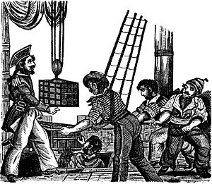 Henry Every - An 1837 woodcut from The Pirates Own Book by Charles Ellms depicting Henry Every receiving three chests of treasure on board his ship, the Fancy