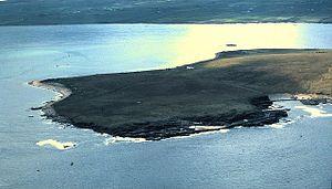 Eynhallow - An aerial view of Eynhallow in 1980