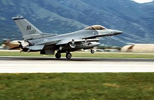 16th Air Expeditionary Task Force - A side view of a US Air Force F-16C Fighting Falcon aircraft of the 31st Fighter Wing landing upon returning from an airstrike against the Bosnian Serbs during Operation Deliberate Force
