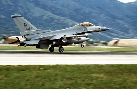 NATO planes engaged in aerial bombardments during Operation Deliberate Force after the Srebrenica massacre. F-16 deliberate force.JPG