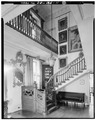 FIRST FLOOR, ENTRY HALL AND STAIRCASE LOOKING NORTH - Rockwood, 610 Shipley Road, Wilmington, New Castle County, DE HABS DEL,2-WILM.V,3-11.tif