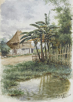 Fabián de la Rosa - Filipino landscape with Nipa hut (1905)
