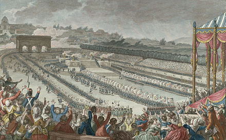 The Fete de la Federation on 14 July 1790 celebrated the establishment of the constitutional monarchy. Federation.jpg