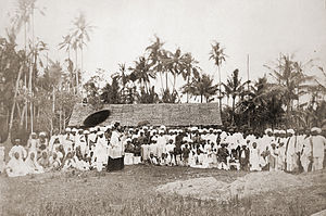 Malaysians of Indian descent in Penang - A photo of Rev. Habb preaching to the Indians in Penang, taken by Kristen Feilberg and exhibited in the 1867 Paris Exhibition.