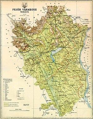 Fejér County (former) - Map of the former Fejér county (Kingdom of Hungary) around 1910