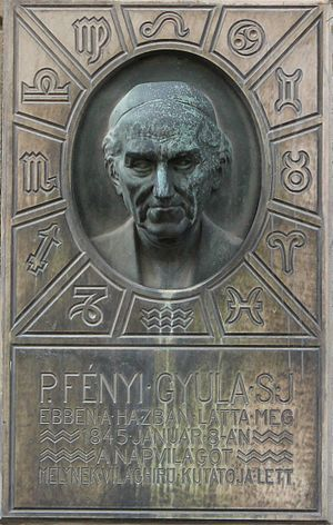 Gyula Fényi - Commemorative plaque on birthplace (Sopron, Hungary)