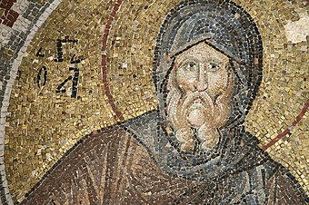 Mosaic of Saint Antony, the desert Father in Pammakaristos Church in Istanbul, Turkey