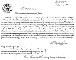 "History of United States patent law - The first U.S. patent, issued to Samuel Hopkins on July 31, 1790, for an innovative way of making ""pot ash and pearl ash"""