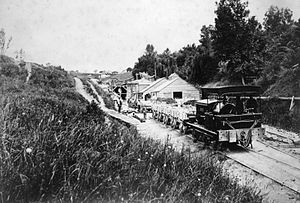 Parnell Tunnel - The first tunnel being built in the early 1870s, seen from the northern portal.