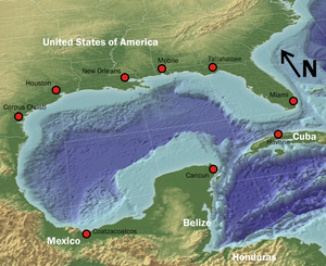 Gulf of Mexico. A more geostrategic map with Mexico, Cuba and NA on it. Source: Wikipedia.