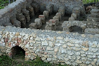 Flavia Solva - Foundations of a house in Flavia Solva showing the hypocaust heating system