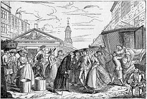 Marriage in England and Wales - Caricature of a clandestine Fleet Marriage, taking place in England before the Marriage Act 1753