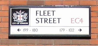 Fleet Street - Fleet Street road sign. The street numbering runs consecutively from west to east south-side and then east to west north-side.