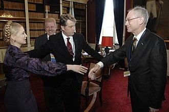 European Union–Ukraine relations - Left to right: Then Ukrainian Prime Minister Yulia Tymoshenko and President Viktor Yushchenko meeting with European Council President Herman Van Rompuy in 2009.