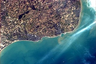 Folkestone and Dover from ISS 2013-03
