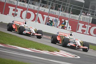 Force India - Giancarlo Fisichella leads Adrian Sutil at the 2008 Canadian Grand Prix.