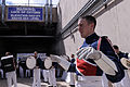 Ford Carty, foreground, leads the U.S. Air Force Academy (USAFA) Drum and Bugle Corps prior to the start of the USAFA Falcons football game against the Idaho State Bengals at Falcon Stadium in Colorado Springs 120901-F-ZJ145-296.jpg