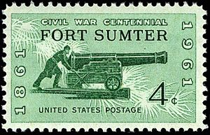 American Civil War Centennial - A 1961 Civil War Centennial postage stamp depicts a cannon and its gunner.