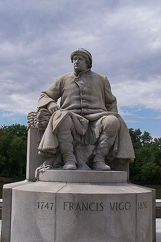 Francis Vigo - Statue by John Angel dedicated to Francis Vigo on the waterfront of George Rogers Clark National Historical Park