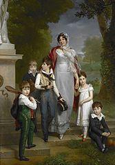 Portrait of Louise-Antoinette-Scholastique Guéhéneuc, Madame la Maréchale Lannes, Duchesse de Montebello, with her Children