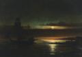 Frederik Michael Ernst Fabritius de Tengnagel - Skibe ved en lille havn i måneskin.png