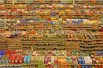 Grocery store - Packaged food aisles in a hypermarket.