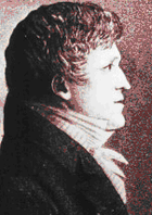 Black and white print of a man in a dark coat with a white shirt. He has a strong chin and wavy hair and looks to the right.