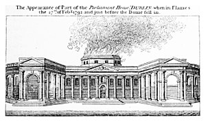 Parliament House, Dublin - Contemporary depiction of Parliament House in flames on 27 February 1792, just before the dome fell in