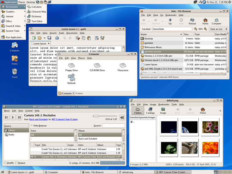 Screenshot of the Gnome desktop
