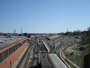 Greenwood Yard - TTC's Greenwood yard as seen from above the Greenwood Portal. Note the first car of a yard bound train at the portal platform (bottom of screen)