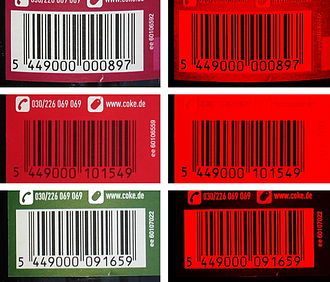 Barcode - GTIN-Barcodes on Cokebottles The right pictures show the red laser of barcode readers gets of the images behind the filter.