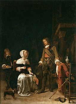 Gabriël Metsu - Soldier Paying a Visit to a Young Lady - WGA15094