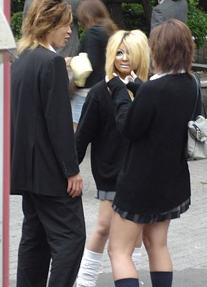 Kogal - A kogal (with shortened skirt) and a Yamanba (wearing Manba makeup)