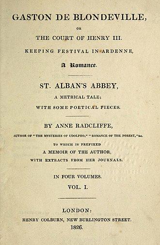Gaston de Blondeville - First edition title page
