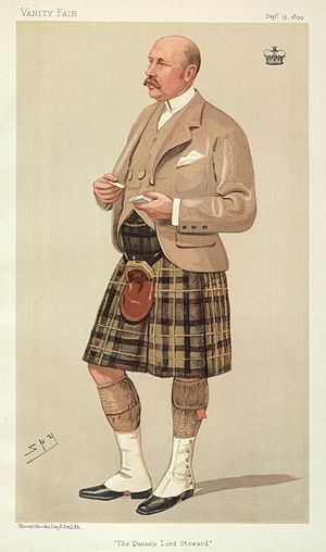 "Gavin Campbell, 1st Marquess of Breadalbane - ""The Queen's Lord Steward"". Caricature by Spy published in Vanity Fair in 1894."