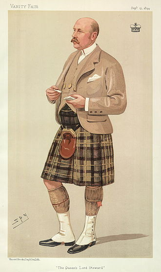 """Gavin Campbell, 1st Marquess of Breadalbane - """"The Queen's Lord Steward"""". Caricature by Spy published in Vanity Fair in 1894."""