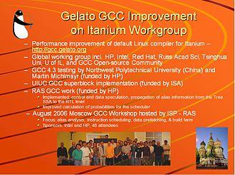 Gelato Federation - Gelato GCC on Itanium Workgroup