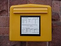 Gelber Briefkasten der Deutschen Post.JPG