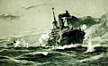 German U-Boat battles an armed merchant ship, artwork by Willy Stower, 1917 (33094644745).jpg