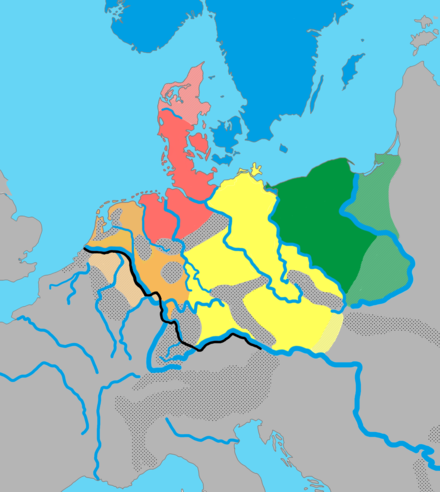 One proposed theory for Germanic dialect groups and their approximate distribution in northern Europe around 1 CE: North Germanic North Sea Germanic (Ingvaeonic) Weser-Rhine Germanic, (Istvaeonic) Elbe Germanic (Irminonic) East Germanic Germanic dialects ca. AD 1.png