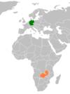 Lage von Deutschland und Sambia