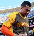 Giancarlo Stanton takes a breather during the T-Mobile Home Run Derby. (28470209862).jpg