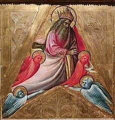 Deus Pai envia o Espírito Santo em forma de pomba entre querubins e serafins