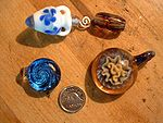 Some hand-blown glass beads and pendants