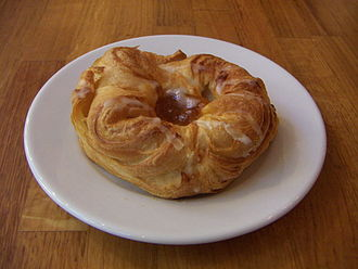 Danish pastry - A typical Spandauer-type Danish with apple filling and glazing