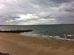 View of Long Island Sound to the north from Welwyn Preserve in Glen Cove