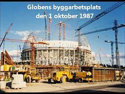 Fil:   Globen bygning okt. 1987. ogv