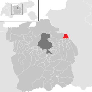 Location of the community Gnadenwald in the Innsbruck-Land district (clickable map)
