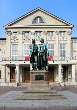 Goethe and Schiller in front of the Deutsche Nationaltheater,