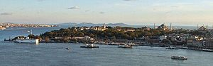View of the Seraglio Point (Sarayburnu) on the Golden Horn as seen from Galata Tower, with the Sea of Marmara and the Princes' Islands in the background, and Kadıköy (ancient Chalcedon) at left, on the Asian side